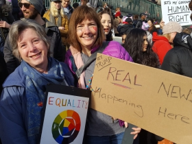 Nancy Verhey and Carol Christensen at the Women's March