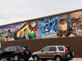 The 'Culture Work' mural is on East Mitchel Street, on the Butters-Fetting building, and was painted by lead artists Raoul Deal as well as UWM art students and Artworks for Milwaukee interns