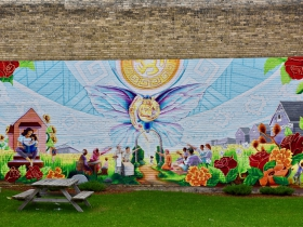 Community artist Tia Richardson collaborated to make this mural at Butterfly Park, at the intersection of Forest Home Avenue and Historic Mitchell Street.