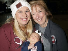 Gael Cullen, (R) with her newest grandchild, 2 week old Hadley and her daughter Annie Olivares.