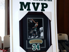 Silent auction hand signed print of Milwaukee Bucks 2018-2019 MVP, Giannis Antelokounmpo.