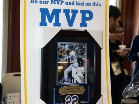 Silent auction hand signed print of Milwaukee Brewers 2018 National League MVP, Christian Yelich.