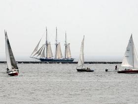 The S/V Denis Sullivan three-masted schooner viewed from the Milwaukee Art Museum
