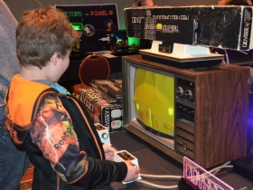 A guest at the Midwest Gaming Classic plays on a Magnavox Odyssey