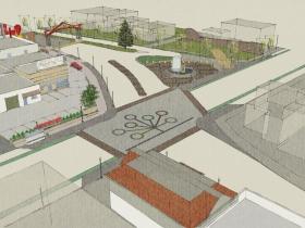 Neighborhood gateway and plaza