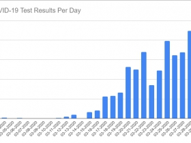 COVID-19 Test Results Per Day through March 29th, 2020