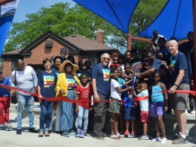 Columbia Playfield reopens with a ribbon cutting ceremony