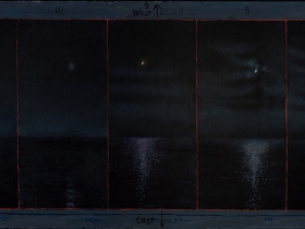 David Niec: Panel 2: June Moon Cycle Over Lake Michigan, The Waxing Moons, 2018