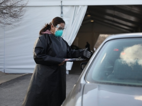 Drive through testing at Parkway Clinic