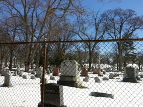 Hawley Road passes Calvary Cemetery