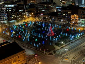 Holiday lights in the square