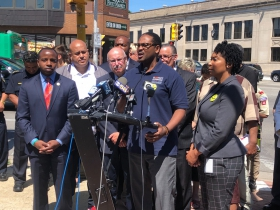 "Common Council Ashanti Hamilton speaks at the ""Take It EZ"" press conference"