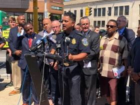 "Police Chief Alfonso Morales speaks at the ""Take It EZ"" press conference"