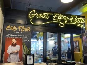 Photo Adam Pawlak and his motto Great Effing Pasta