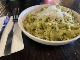Campanella with basil pesto