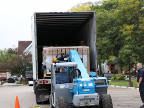 The first delivery of solar panels arrived from Mississippi on Oct. 13