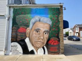 A mural by Ruben Alcantar at 8631 S. 6th St.