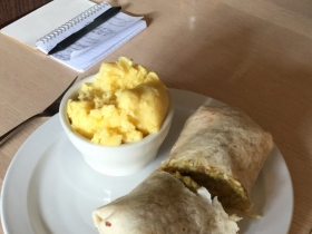 Roasted sweet potato burrito and buttermilk grits