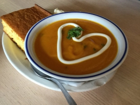 Carrot cilantro soup and cornbread
