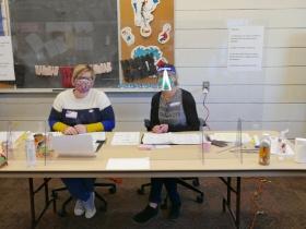 Clare Kuehnen, left, Maureen Goldblatt, right, at Atkinson Branch Library