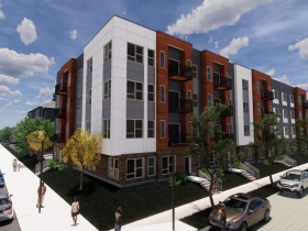 Rendering of a new 4-story building on the Phillis Wheatley property