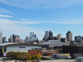 View of Downtown Milwaukee from parking structure near Pabst Milwaukee Brewery & Taproom