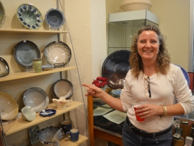 Dawn J. Lewison and her works at the Milwaukee Potters Guild