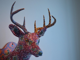 Rose and Daisy deer head by Lon Michels