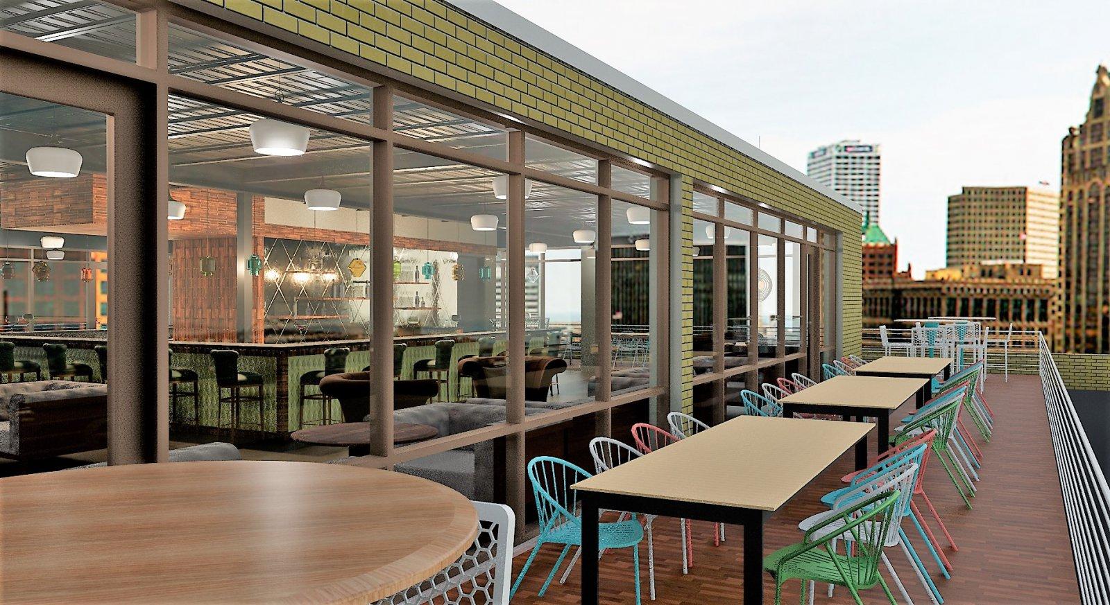 No studios rooftop outdoor patio