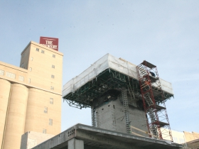 A closer look at the elevator tower.