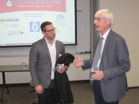 Justin Moralez and Tony Evers