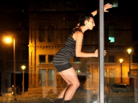 Mauriah Kraker, showcased in the window in Wild Space's 360°.