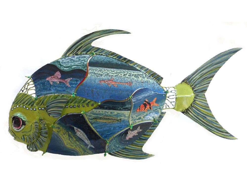 Bill Reid, Pompanotated Catfish, Painted Steel, 29x16x4