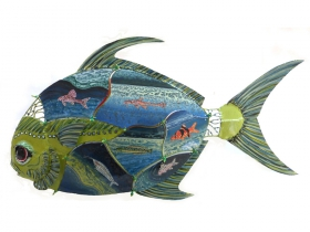 Bill Reid, Pompanotated Catfish, Painted Steel, 29x16x4