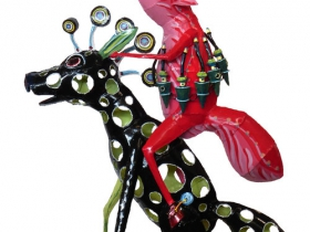 Bill Reid, Riding The Wild Zero Zebra, Painted Steel, 65x36x9