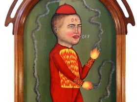 "Fred Stonehouse ""Fire Show"" acrylic on panel with antique frame 22x13 framed 29x18."