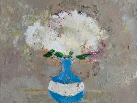 White Mums by Melanie Parke