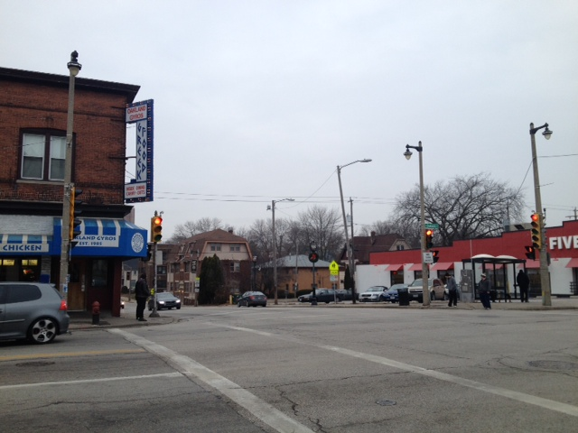 At the Intersection of Oakland and Locust.