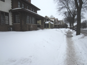 Sidewalk on February 8th, 2014 in front of the Stamper Home.
