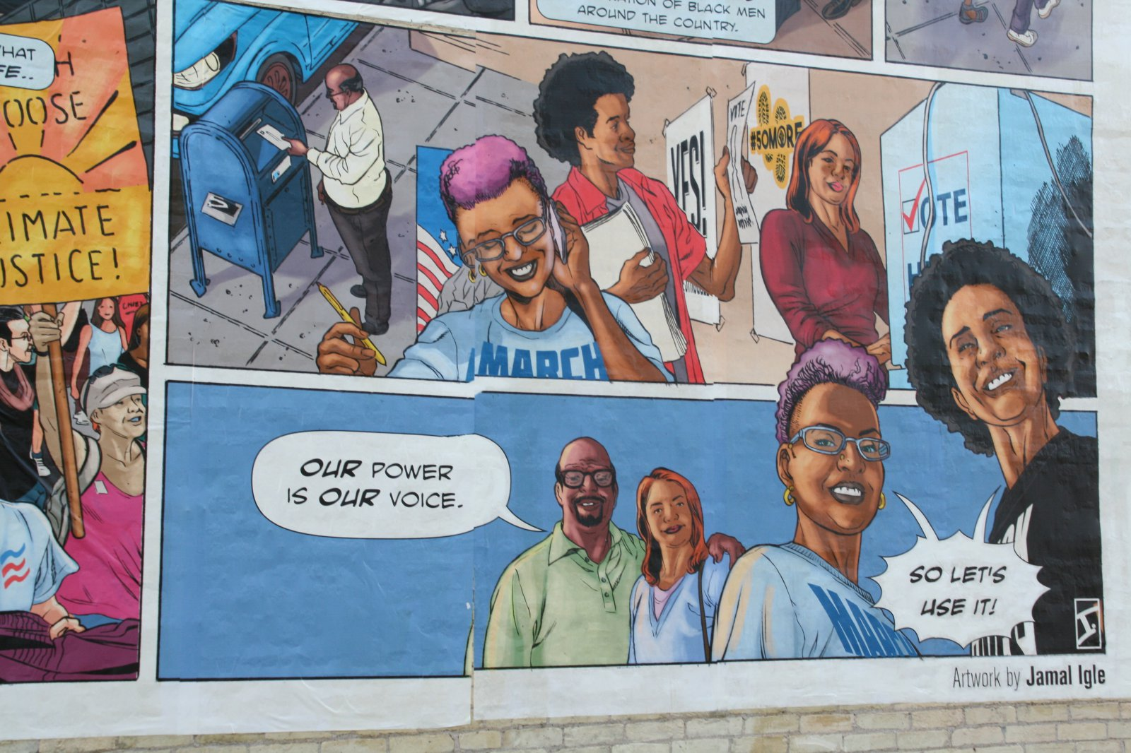 Mural on the side of Grove Gallery, 830-832 S. 5th St.