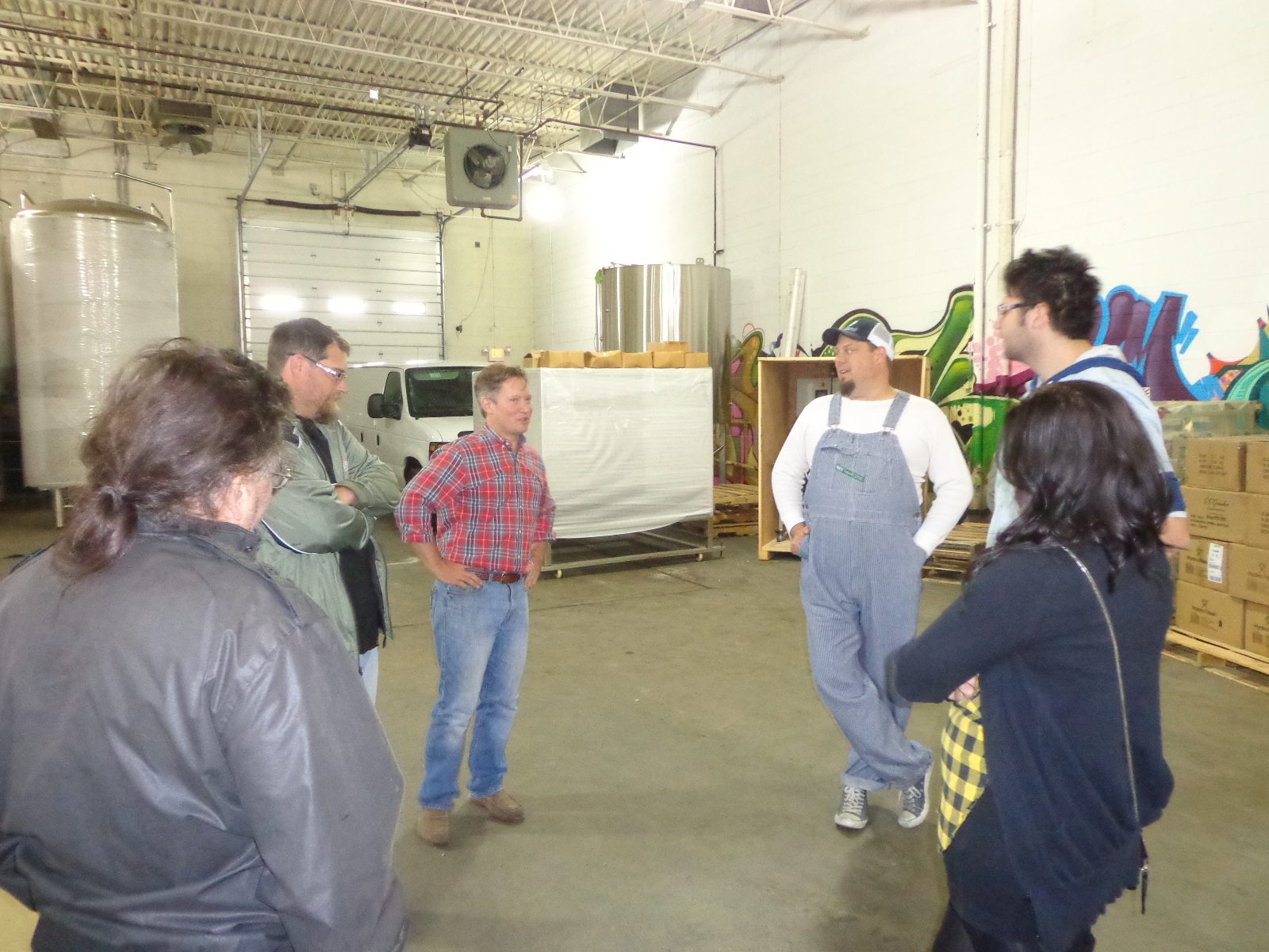Crowd speaks with Jim McCabe and Mike Brenner about brewing.