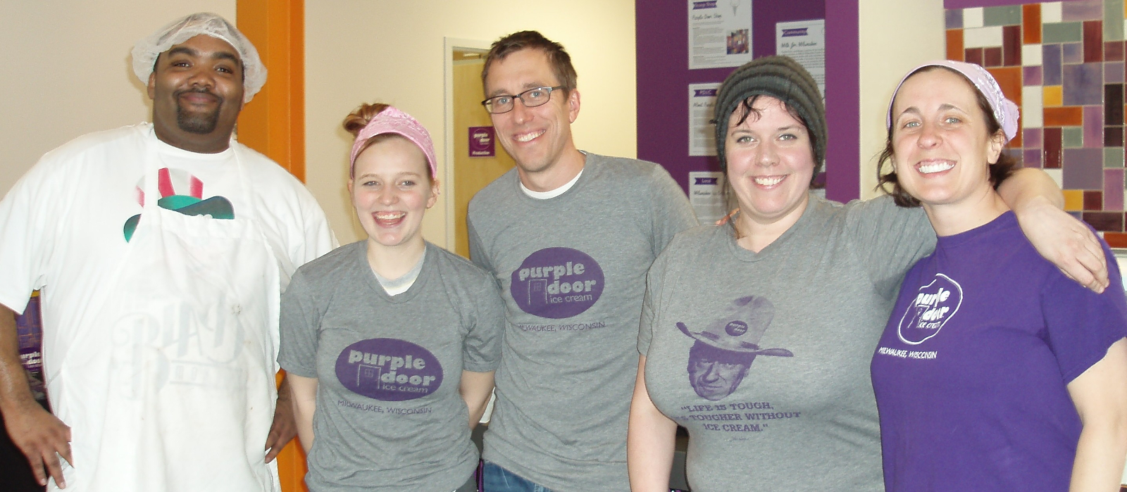 Steve (center) and Lauren Schultz (far right) have a great working relationship with their staff members.