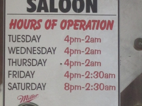 Hours of operation.