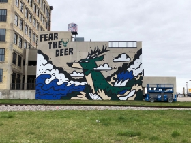 Fear the Deer Mural at Brix Apartment Lofts