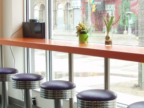 Rotating stools offer a perch from which to view the surrounding Walker's Point neighborhood.