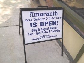 Amaranth Bakery's hours.