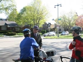 Mayor Tom Barrett prepares for the bike ride.