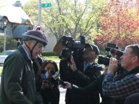Mayor Tom Barrett speaks to the media before the bike ride.