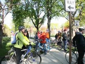 The crowd prepares to ride to City Hall.