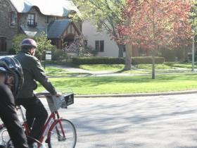 Mayor Barrett leads the bike ride towards downtown.